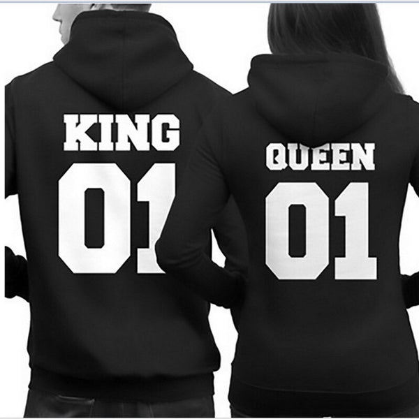 Couple Sweatshirt KING QUEEN HOODIES Prints Lover Pullover for Men and Women - CoupleStuffs.com - Couple's Super Shop for Stuffs!