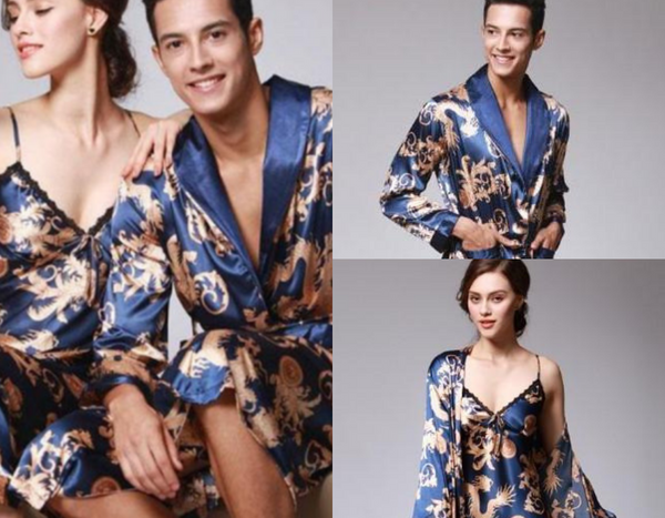 Royal Smooth Silk V-neck Couple Pajamas
