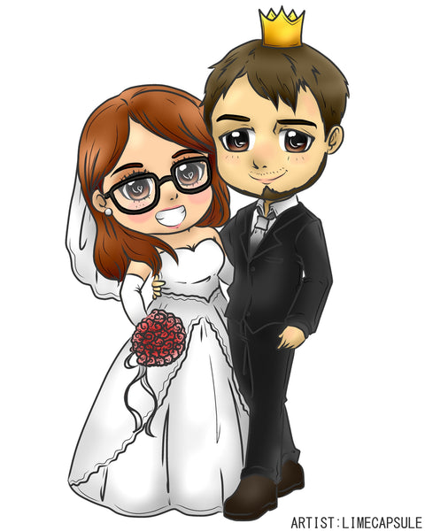 Couple Art Photo - We Will Draw Your Photo as a CHIBI ART - No Colour Line Art Only - CoupleStuffs.com - Couple's Super Shop for Stuffs!