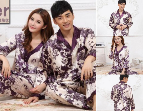Smooth Silk Gradient Couple Pajamas