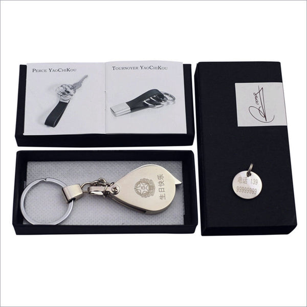 Customised Gift for Him - Magnifying Glass Key Chain with CUSTOMISED LETTERING & GIFT BOX - CoupleStuffs.com - Couple's Super Shop for Stuffs!