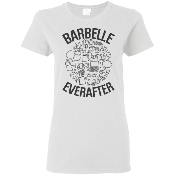 BarBelle EverAfter Ladies T-Shirt Mini Icons Design