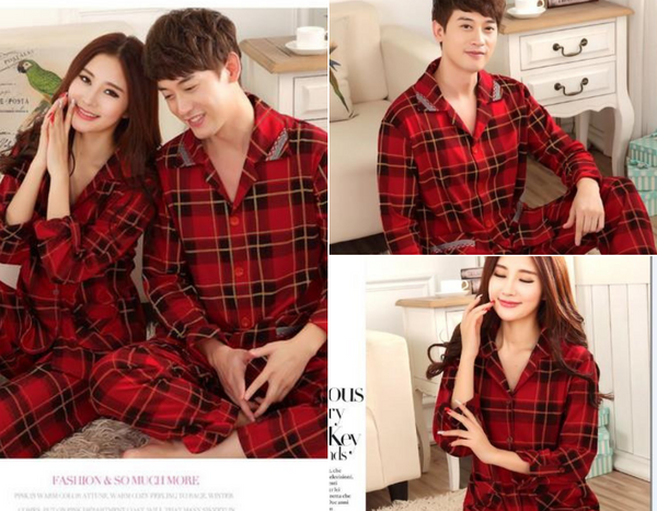 Red Black Plaid Couples Pajamas
