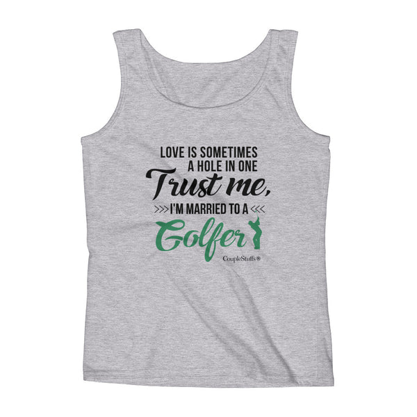 """Original Woman Short Sleeves Apparel with caption ""I'm Married To A Golfer"""
