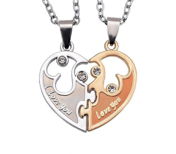 Wholesale 2015  I Love You Letters Heart Pendant New Couple Lovers Necklaces Fashion Women And Men Metal Chain Necklace Jewelry - CoupleStuffs.com - Couple's Super Shop for Stuffs!