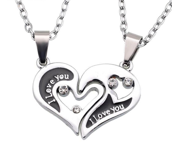 Wholesale Couple Lovers Necklaces & Pendants 316L Stainless Chain men Necklaces I Love U Double Heart Necklace Jewelry - CoupleStuffs.com - Couple's Super Shop for Stuffs!