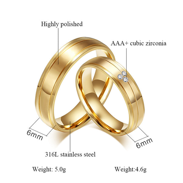 3 Crystal Gold Couple Rings