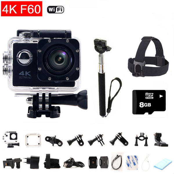 gopro hero 4 style 4K Sports Camera F60 Mini Action Cam Wifi Waterproof Helmet Diving Extreme Cam +Monopod+SD Card+ Headband