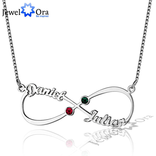 DIY Christmas Gift Infinity Love Birthstone Pendant Personalized 925 Sterling Silver Name Necklace With Box (JewelOra NE101637)