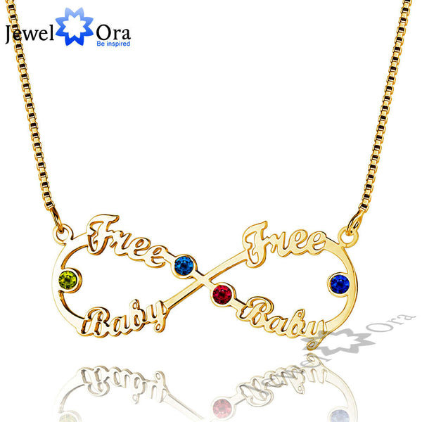 DIY Christmas Gift Infinity Love Name Engrave Necklace Personalized 925 Sterling Silver Name Necklace (JewelOra NE101635)