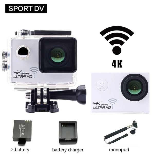 gopro hero 4 style 4K 24fps Action Camera 8000 Waterproof Wifi Sports Camera NTK96660 go pro Cam Diving Helmet 2 Battery+Monopod