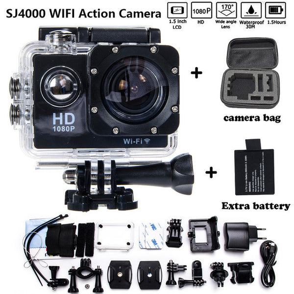 Couple Gadgets Camera Bag 2 Battery Sport Action 1080P HD 12MP SJ4000 WIFI for Gopro Hero Style