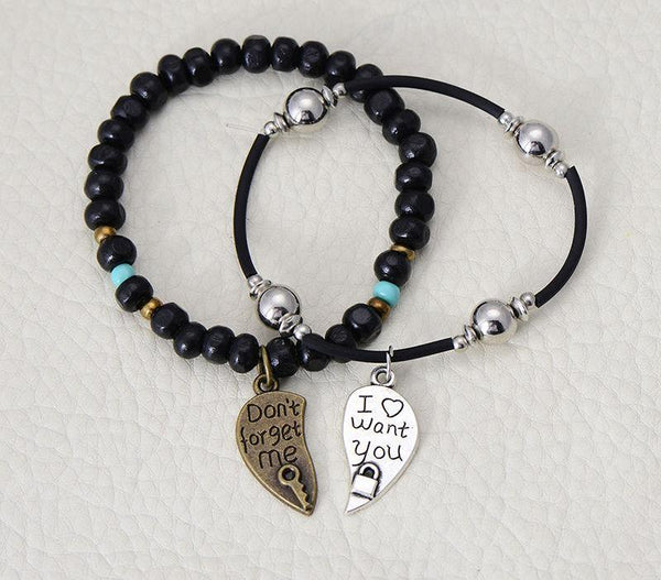Vintage Style Couple Lovers' Heart Charm Bracelet
