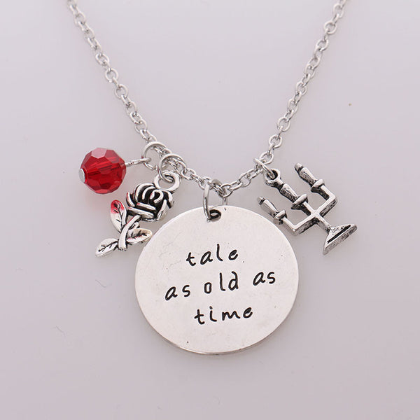 "Beauty and the Beast Collection ""Tale as old as time"" Pendant with Charms Women Necklace"