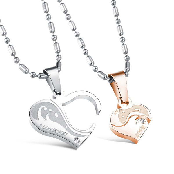 Couple Necklace stainless steel heart-shaped for lovers