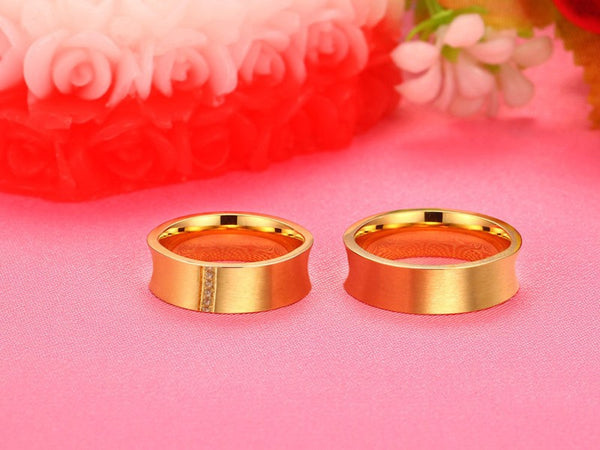 6 Crystal Pure Gold Couple Rings