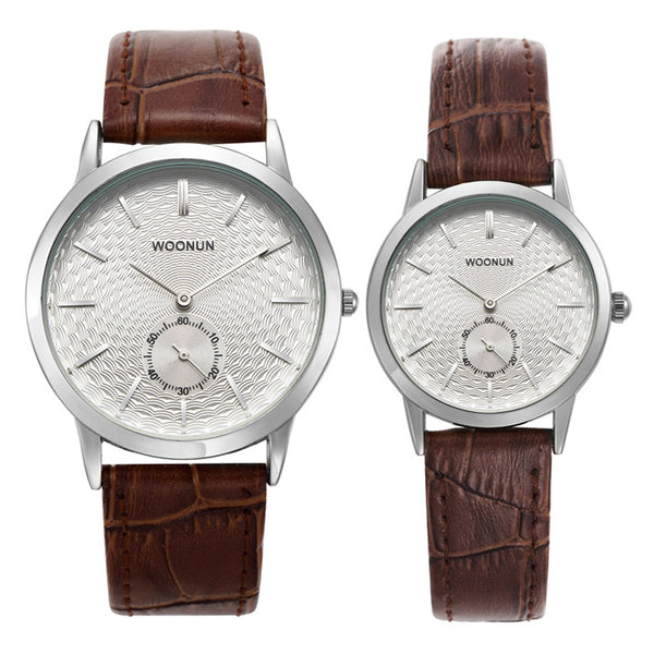 Top Luxury Brand Couple Watches For Lovers Genuine Leather Strap