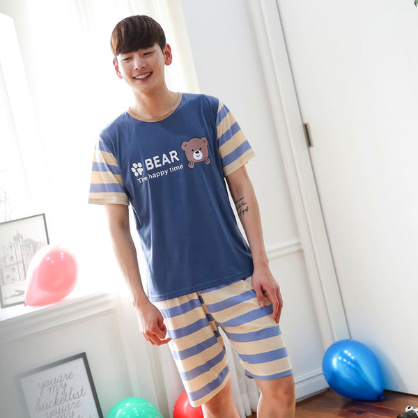 Blue Sweet Bear Couple Pajamas