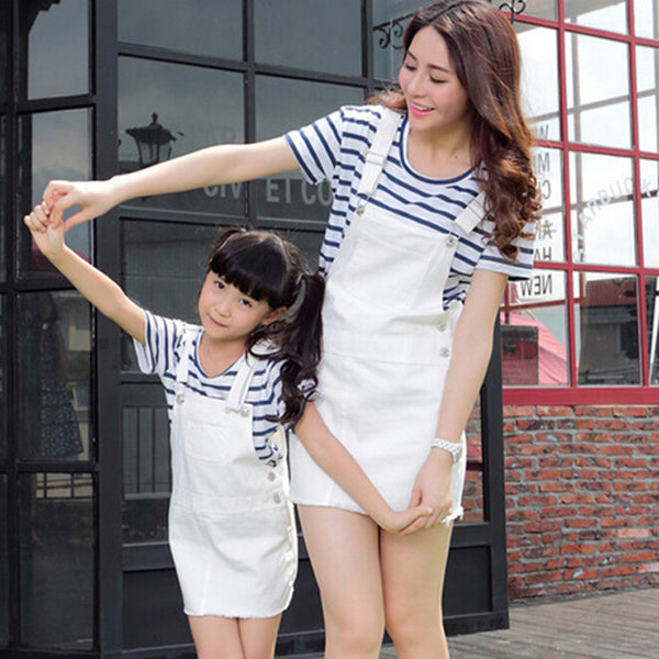 Mother & Daughter Matching Outfits Cotton Striped  Shirts + Fashion White Dress Sets