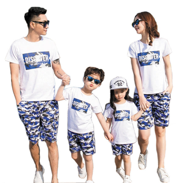Discover Family Matching Shirts + Camouflage Pants Set