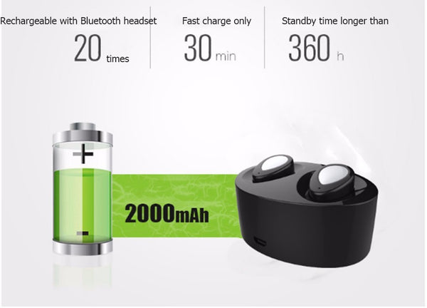 Couple Gadgets Torntisc Bluetooth 4.1 Binaural Rechargeable TWS Wireless Earphones