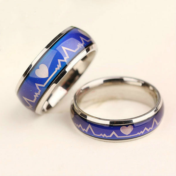 Color Mood Heartbeat Couple Rings