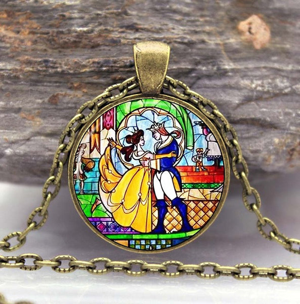 Beauty and the Beast Collection Flowers Rose Glass Photo Pendant Necklace Gift
