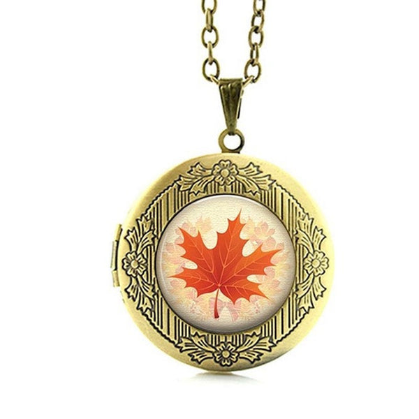 Wholesale Pink flower beauty and the beast rose necklace women charms rose lotus Canadian Maple Leaf locket pendant jewelry N762