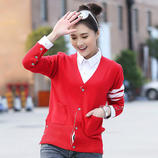 Cardigan White Stripes Style Couple Sweater