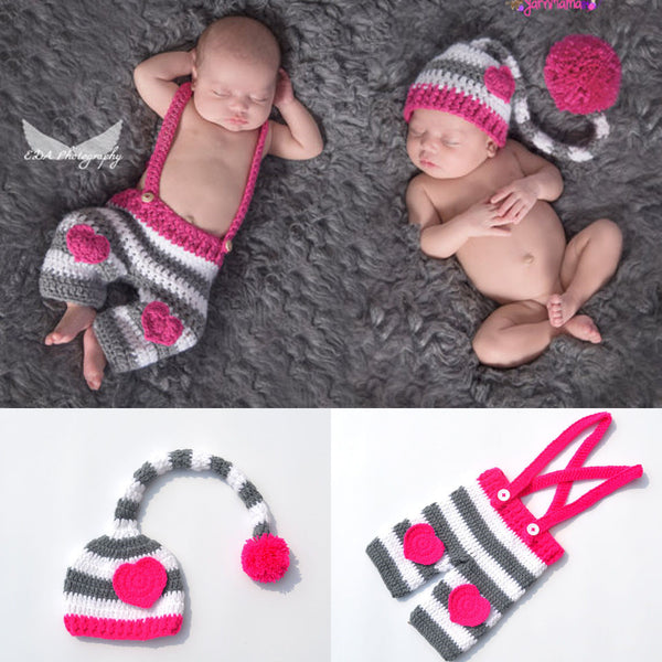 Twin Clothes Crochet Baby Hearted Hat & Pants Set Crochet Newborn Twins Clothing Set