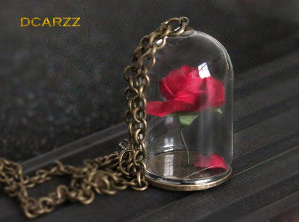 Beauty and the Beast Collection Enchanted Rose Terrarium Pendant Necklace for Valentines Day