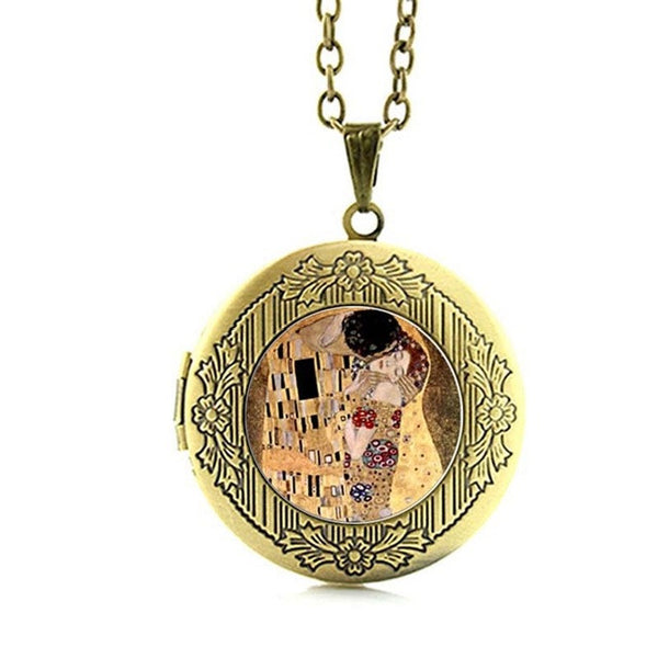 Beauty and the Beast Collection Locket Vintage Klimt Glass Cabochon Pendant Necklace