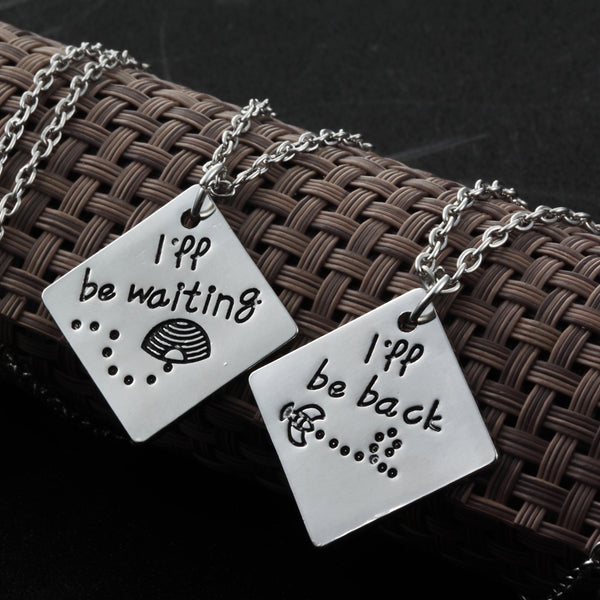 Long Distance Relationship I'll be back I'll be waiting Couple Necklace