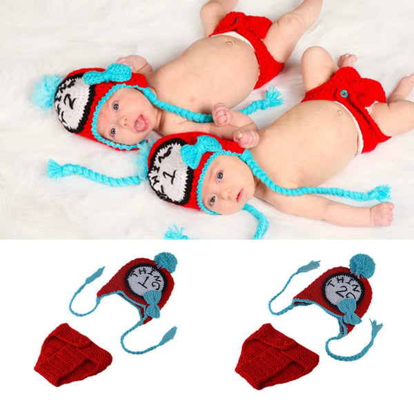 Twin Clothes Unisex Newborn Baby TWINS Photography Props Crochet Baby Earflap Hat & Diaper Set Knitted