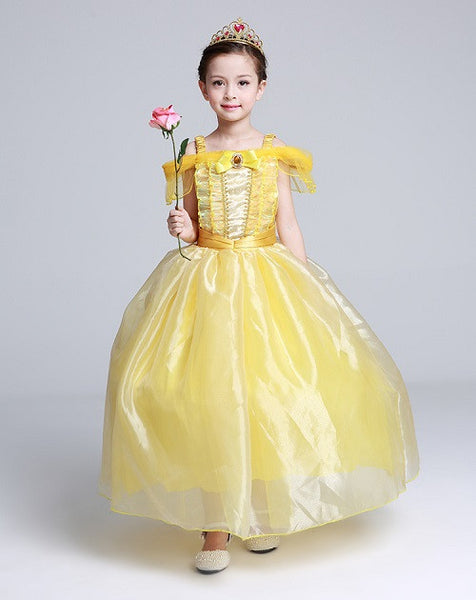 Kids Fair Girls Christmas Costumes Long Dresses Beauty and The Beast Cosplay Clothing Christmas Children Princess Bell dresses