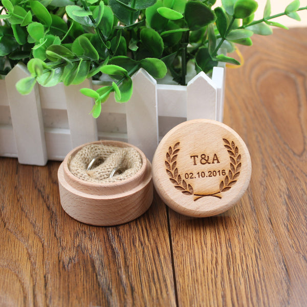 Personalised Wooden Ring Holder for Wedding, Engagement and Save the Date
