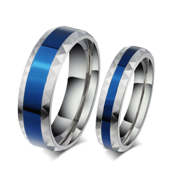 Polished Silver Blue Couple Rings