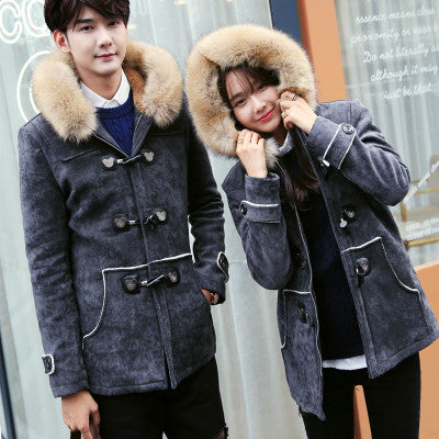 Winter 2017 Couple Fur Collar Lover's Cotton-Padded Elk Leather Jacket Men's and Women's Horn button Coats