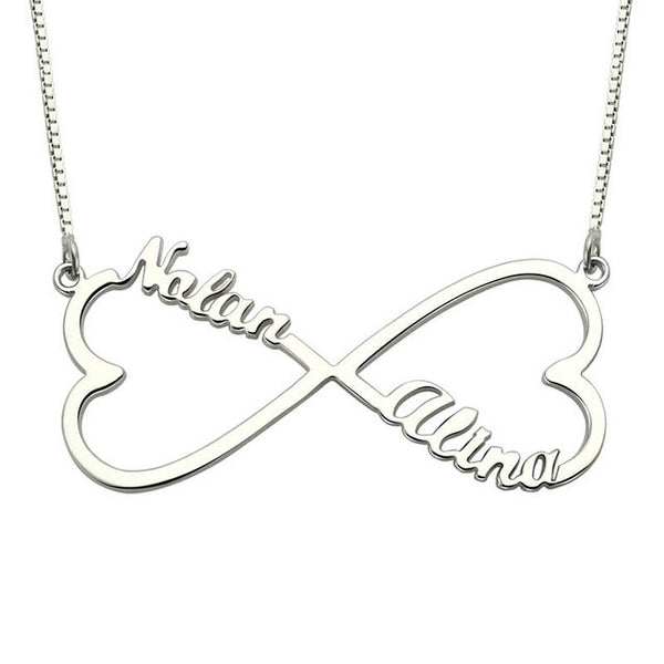 Personalized Heart Infinity Name Necklace Silver Love Heart Necklace Infinity Symbol Jewelry Couple Necklace BFF Gift
