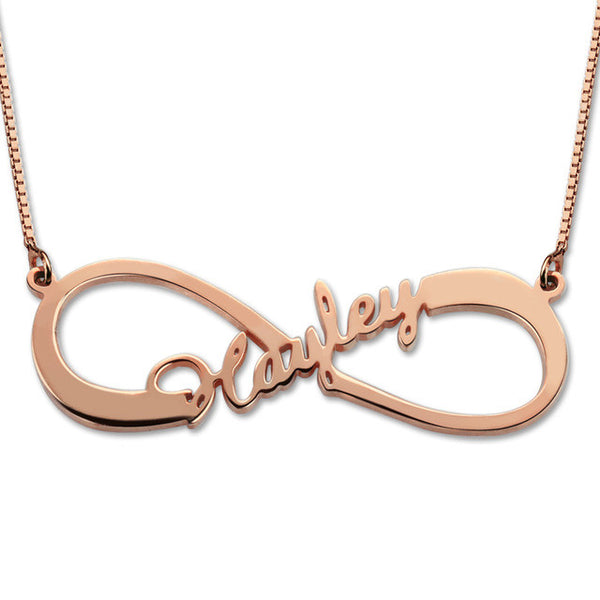 Infinity Name Necklace Rose Gold Color Single Name Necklace Infinity  Necklace with Any Name wedding Gift Mother's Day Gift