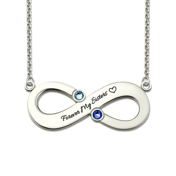 Couple's Infinity Name Necklace with Birthstones Sterling Silver Infinity Sign Necklace  Birthstone Infinity BFF Gift
