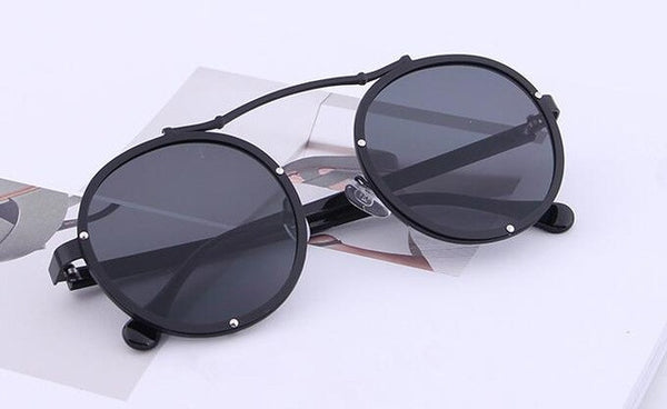 Mix wind Metal retro round frame sunglasses 2017 fashion face 7 color reflective sunglass women mirror Couple men eyewear