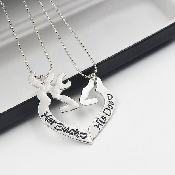 "Couple Necklace Deer ""Her Buck His Doe"" Kissing  Hollow Heart Shape Special Gift - CoupleStuffs.com - Couple's Super Shop for Stuffs!"