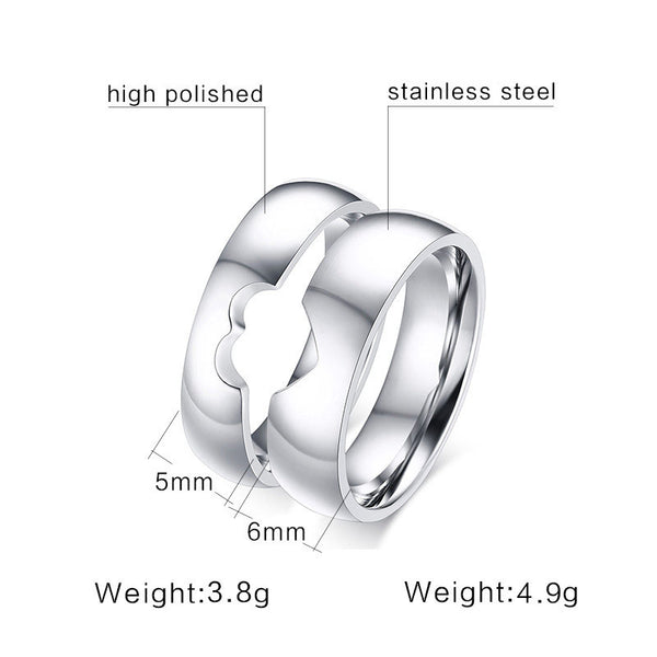 Silver Connecting Heart Couple Rings