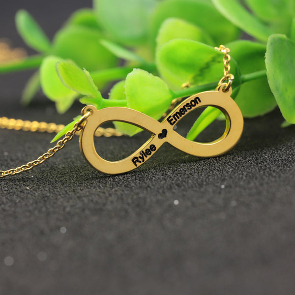 Couple Infinity Name Necklace Solid Silver Engraved Two Names Pendant Hollow Heart Jewelry