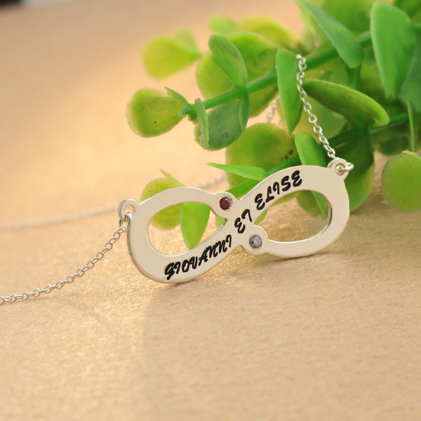 Couple Infinity Name Necklace Customized Choker Birthstone Fashion Jewelry Silver Pendant