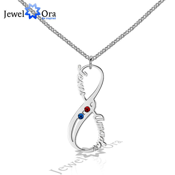DIY Infinity Love Birthstone Necklace Personalized 8 Shape 925 Sterling Silver Name Necklace Lovers Gift (JewelOra NE101586)
