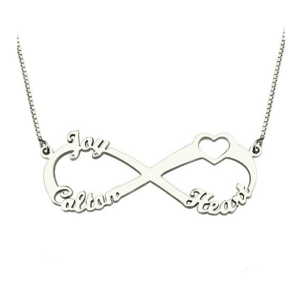 Engraved 3 or 4  Names Infinity Pendant Jewelry Cut out Heart BFF Names Necklace Wholesale Christmas Gift