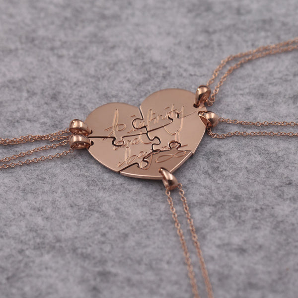 Rose Gold Color 5 Pcs Family Members Necklace Customized Stamp Letter Infinity Love Necklace Sets Jewelry Best Family Gift
