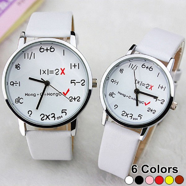 I Love Math Leather Couple Watch